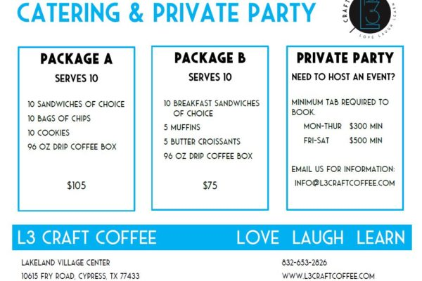 Special Packages to serve large groups for Breakfast, Lunch and Dinner.  Party room available for private event at Cypress, TX